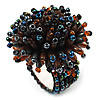 Multicoloured Glass Bead Flower Stretch Ring
