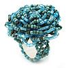 Light Blue Glass Bead Flower Stretch Ring