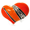 Bright Orange Enamel Diamante Asymmetrical Heart Ring (Silver Tone)
