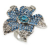 Light Blue Diamante Flower Ring (Silver Tone)
