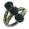 Emerald Green CZ Trinity Ring (Black Tone)