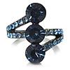 Cobalt Blue CZ Trinity Ring (Black Tone)