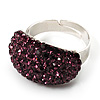 Austrian Crystal Dome Shape Silver Tone Ring (Abergune Purple)