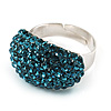 Austrian Crystal Dome Shape Silver Tone Ring (Sky Blue)