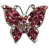 Silver Tone Pink Crystal Butterfly Ring