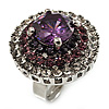 Amethyst CZ Statement Cocktail Ring (Silver Tone)