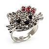 Cute Crystal Kitten Ring (Silver&Clear)