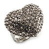 Clear Diamante Puffed Heart Ring (Silver Tone)