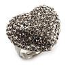 Clear Diamante Puffed Heart Ring (Silver Tone)