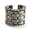 Burn Silver Wide Band Weaved Ring