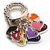 Silver Tone Charm Crystal Heart Stretch Ring (Enamel, Multicoloured)