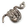 Silver Tone Swarovski Crystal Snake Ring