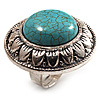 Round Turquoise Stone Cocktail Ring (Burn Silver Tone)