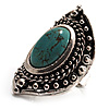 Burn Silver Hammered Turquoise Style Fashion Ring
