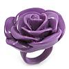 Purple Chunky Resin Rose Ring