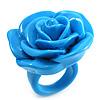 Light Blue Chunky Resin Rose Ring