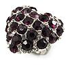 Deep Purple Diamante Puffed Heart Ring (Silver Tone)