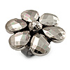 Slate Grey Acrylic Flower Ring (Black Tone)
