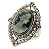 Vintage Filigree Simulated Pearl Cameo Ring (Silver Tone)