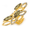 Olive/ Clear Crystal Elongate Cocktail Ring In Gold Tone Metal -