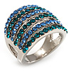 Silver Tone Wide Crystal Band Ring (Light Blue & Teal)