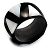 Black Resin & White Shell Inlay Band Ring