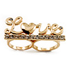 Gold Plated Double Finger Diamante 'Love' Ring - Size 7&8