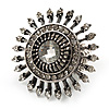 Vintage Filigree Crystal Stretch Ring (Burn Silver Metal) - 4cm Diameter
