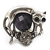 Burn Silver Black Diamante Cat & Mouse Stretch Ring
