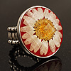 Silver Tone Daisy Flex Ring - Size 7/9