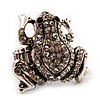 Clear Diamante Frog Flex Ring (Antique Silver Metal) - Size 7/8 (Stretch)
