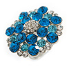 Silver Tone Sky/ Teal Blue Diamante Cocktail Ring (Adjustable Size 7/8)