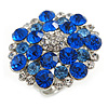 Silver Tone Sky/ Navy Blue Diamante Cocktail Ring (Adjustable Size 7/8)