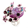 Exquisite Flower And Butterfly Cocktail Ring (Silver And Purple)
