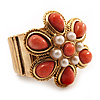 Coral Style Flower Stretch Ring (Gold Tone Metal)