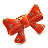 Large Bright Orange Enamel Crystal Bow Stretch Ring (Size 7-9)