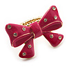 Large Bright Fuchsia Enamel Crystal Bow Stretch Ring (Size 7-9)