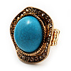 Round Crystal Turquoise Coloured Resin Stone Flex Ring (Gold Tone Metal) Size - 7/9
