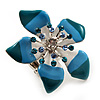 Stunning Blue Enamel Crystal Flower Flex Ring (Silver Tone Metal) - Size 7/8