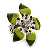 Stunning Green Enamel Crystal Flower Flex Ring (Silver Tone Metal) - Size 7/8