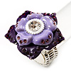 Purple Enamel Crystal Layered Flex Ring (Silver Metal Finish) Size - 7/8