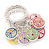 Multicoloured Enamel 'Peace' Stretch Ring In Rhodium Plated Metal