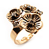 Delicate Crystal Flower Ring in Antique Gold Finish - Size 7/8