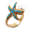 Turquoise Coloured Acrylic Bead 'Starfish' & Simulated Pearl Gold Matte Ring