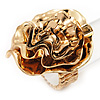 Large Layered 'Rose Flower' Flex Ring In Gold Plated Metal - 4cm Diameter