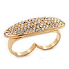 Gold Plated Pave Set Clear Austrian Crystal 'Shield' Double Finger Ring - 45mm Across - Size 7/8