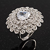 Layered Diamante Floral Cocktail Ring In Rhodium Plated Metal - 3cm Diameter