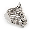 Wide Crystal Geometric Band Ring In Rhodium Plated Metal - 2cm Width