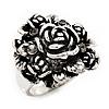 Vintage Rose Diamante Fancy Ring In Burn Silver Metal
