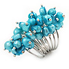 Wide Chunky Azure Blue Freshwater Pearl Ring (Silver Plated Metal)